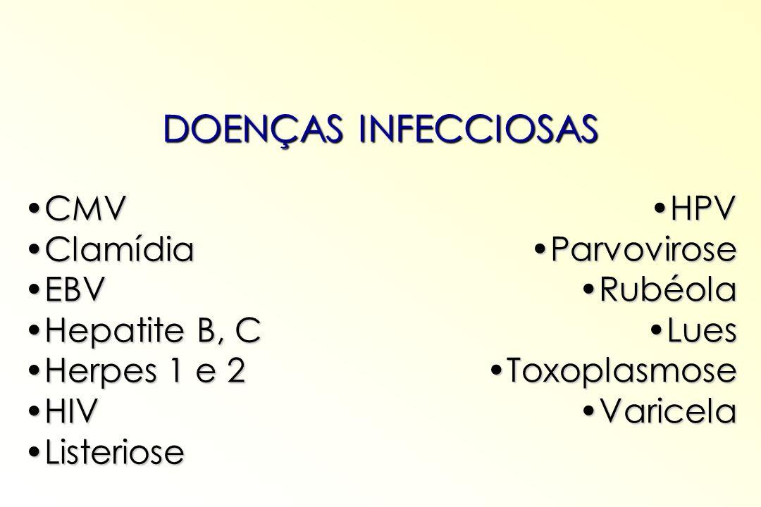DOENÇAS INFECCIOSAS CMV HPV Clamídia Parvovirose EBV Rubéola