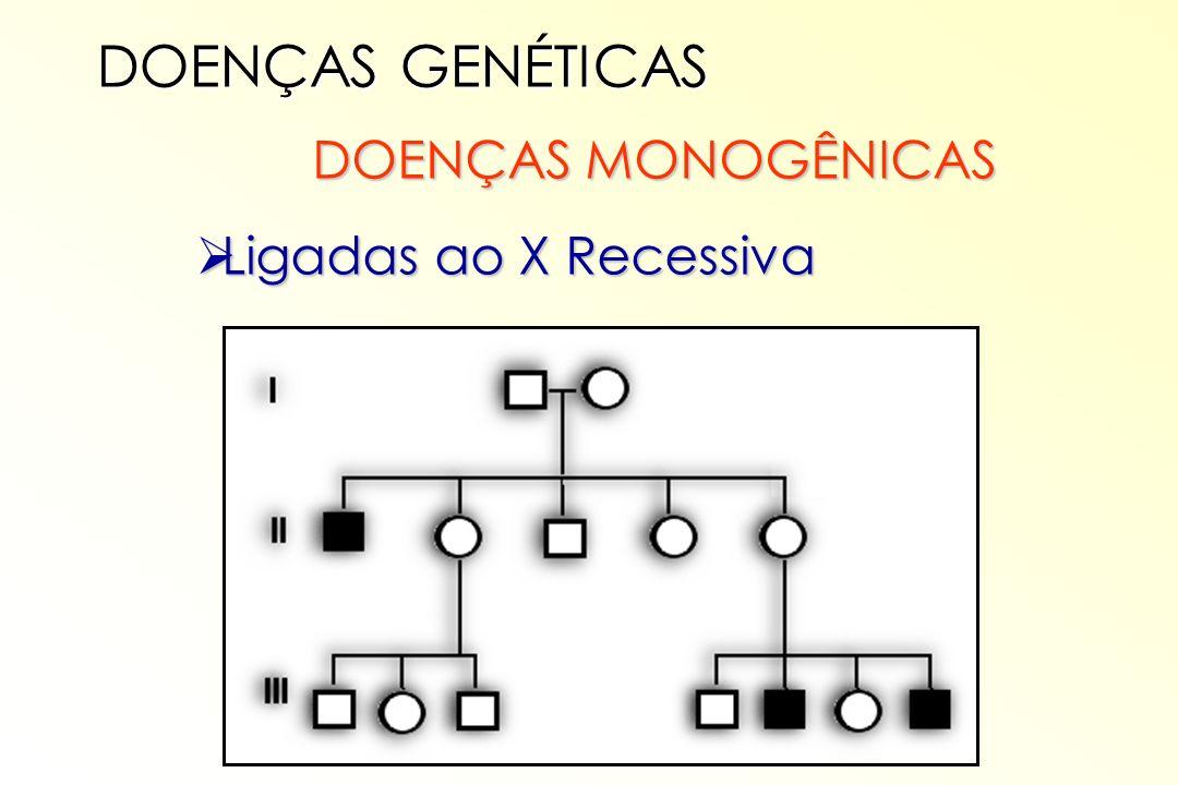 DOENÇAS GENÉTICAS DOENÇAS MONOGÊNICAS Ligadas ao X Recessiva