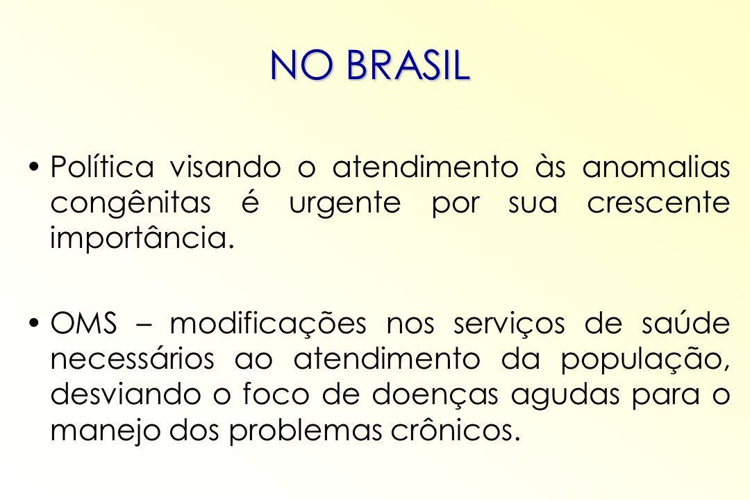NO BRASIL Política visando o atendimento às anomalias congênitas é urgente por sua crescente importância.