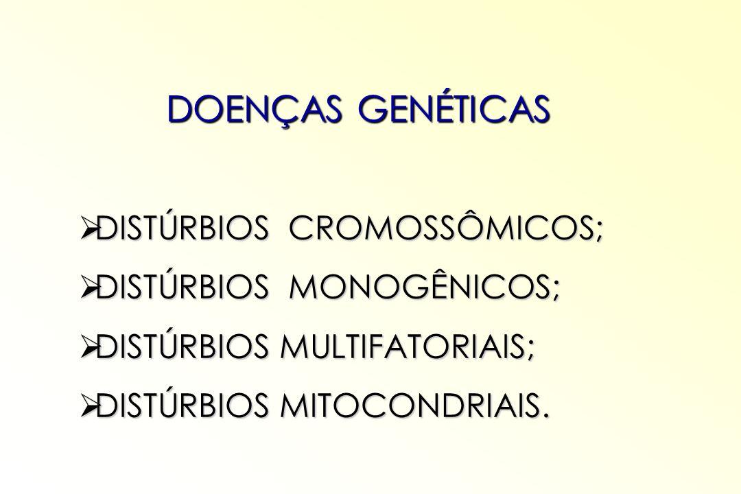 DOENÇAS GENÉTICAS DISTÚRBIOS CROMOSSÔMICOS; DISTÚRBIOS MONOGÊNICOS;