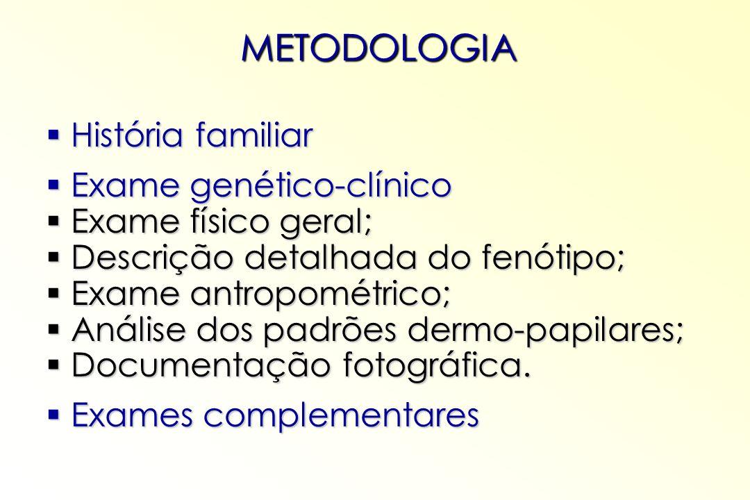 METODOLOGIA História familiar Exame genético-clínico
