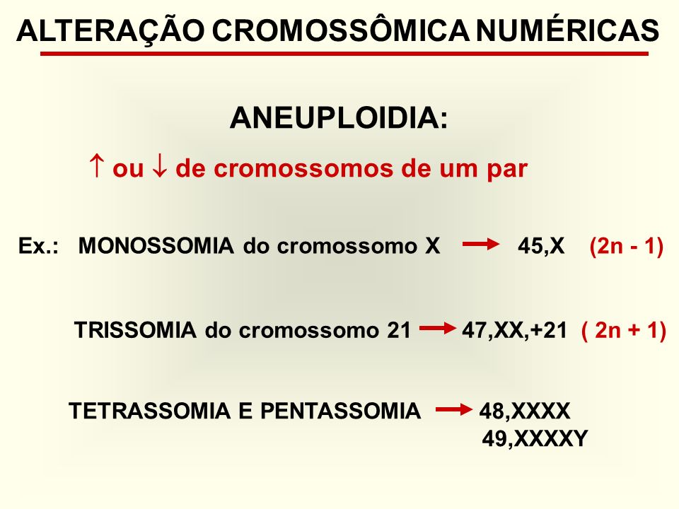 ALTERAÇÃO CROMOSSÔMICA NUMÉRICAS ANEUPLOIDIA:
