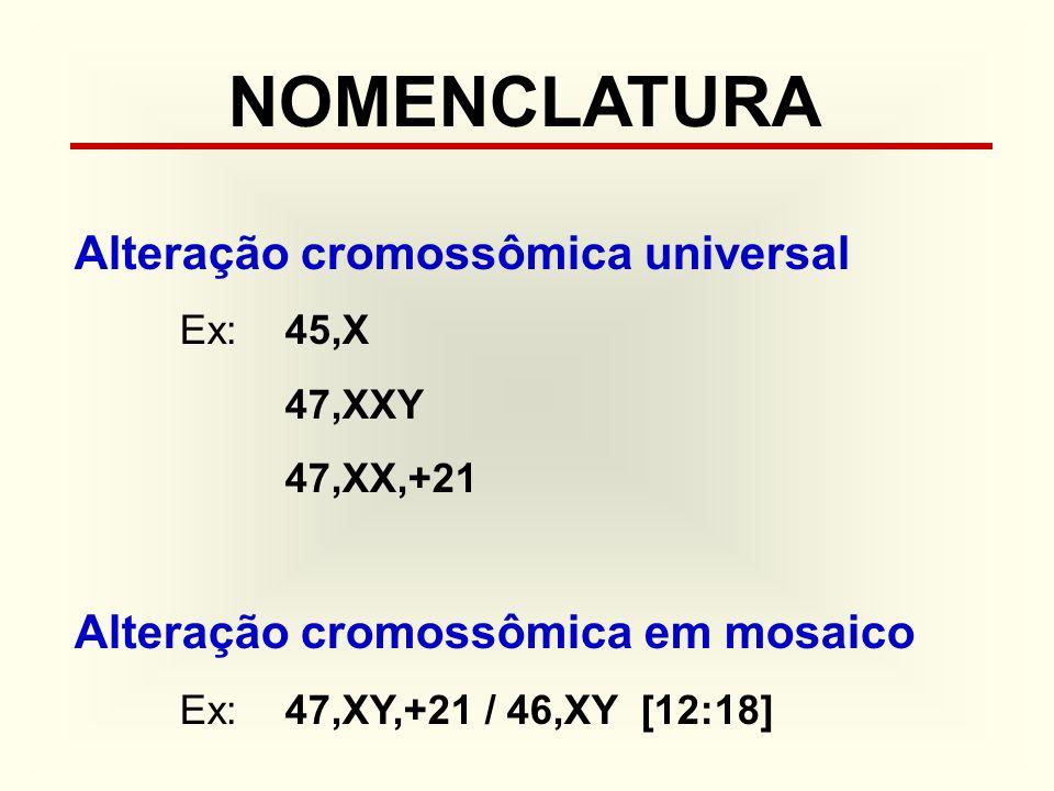 NOMENCLATURA Alteração cromossômica universal