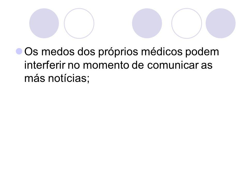 Os medos dos próprios médicos podem interferir no momento de comunicar as más notícias;