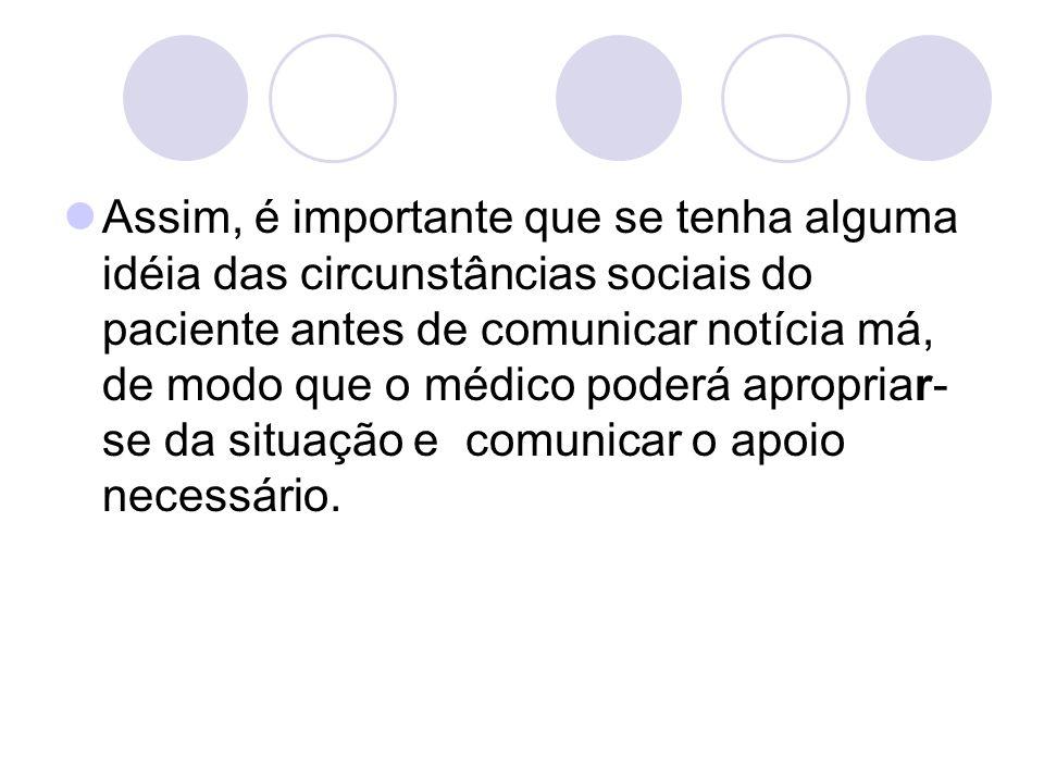 Assim, é importante que se tenha alguma idéia das circunstâncias sociais do paciente antes de comunicar notícia má, de modo que o médico poderá apropriar-se da situação e comunicar o apoio necessário.