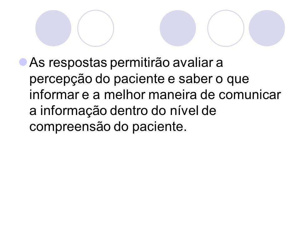 As respostas permitirão avaliar a percepção do paciente e saber o que informar e a melhor maneira de comunicar a informação dentro do nível de compreensão do paciente.