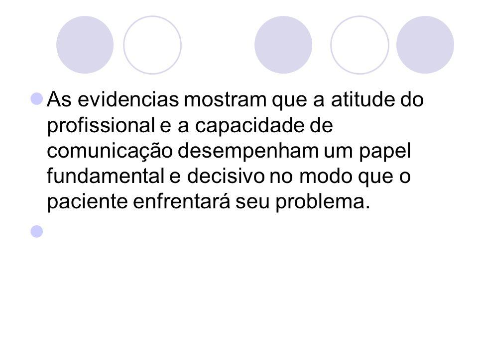 As evidencias mostram que a atitude do profissional e a capacidade de comunicação desempenham um papel fundamental e decisivo no modo que o paciente enfrentará seu problema.