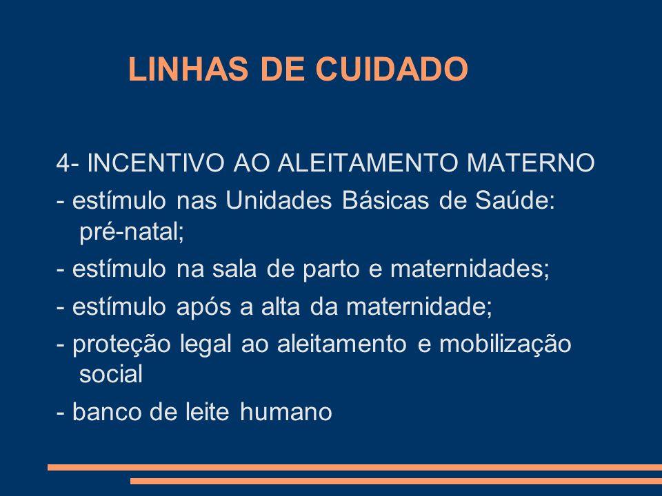 LINHAS DE CUIDADO 4- INCENTIVO AO ALEITAMENTO MATERNO