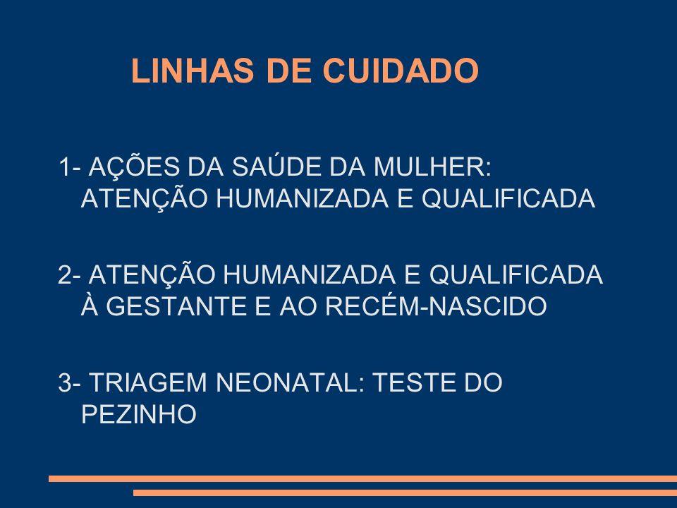 LINHAS DE CUIDADO 1- AÇÕES DA SAÚDE DA MULHER: ATENÇÃO HUMANIZADA E QUALIFICADA. 2- ATENÇÃO HUMANIZADA E QUALIFICADA À GESTANTE E AO RECÉM-NASCIDO.