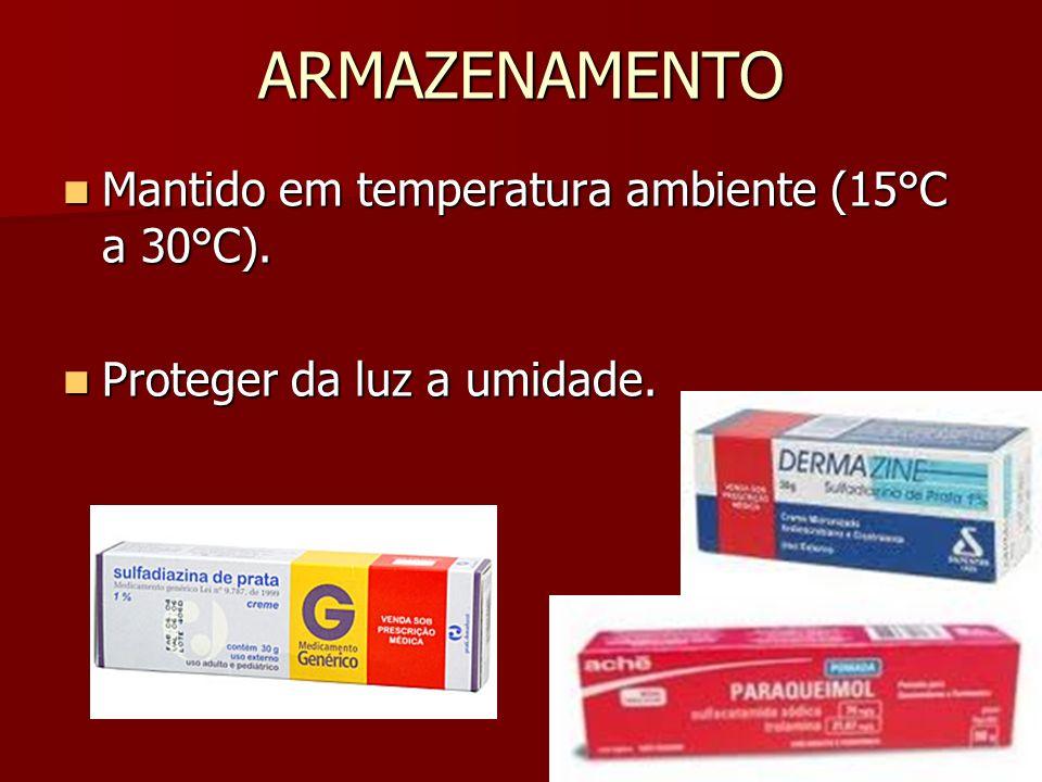 ARMAZENAMENTO Mantido em temperatura ambiente (15°C a 30°C).