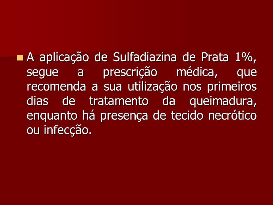 A aplicação de Sulfadiazina de Prata 1%, segue a prescrição médica, que recomenda a sua utilização nos primeiros dias de tratamento da queimadura, enquanto há presença de tecido necrótico ou infecção.