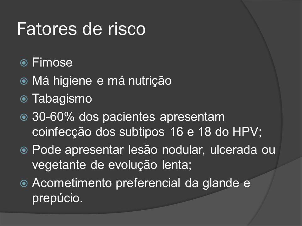 Fatores de risco Fimose Má higiene e má nutrição Tabagismo