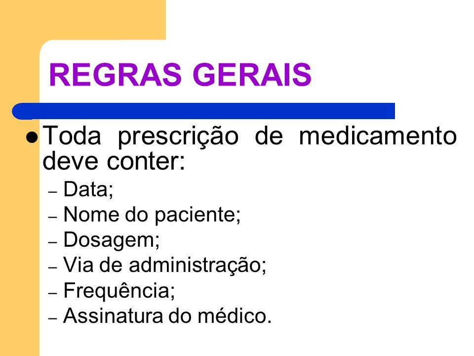 REGRAS GERAIS Toda prescrição de medicamento deve conter: Data;