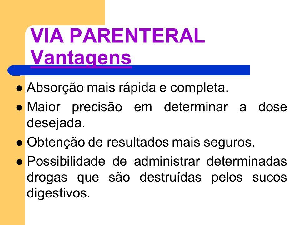 VIA PARENTERAL Vantagens