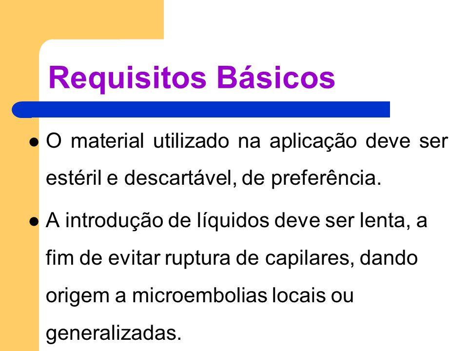Requisitos Básicos O material utilizado na aplicação deve ser estéril e descartável, de preferência.