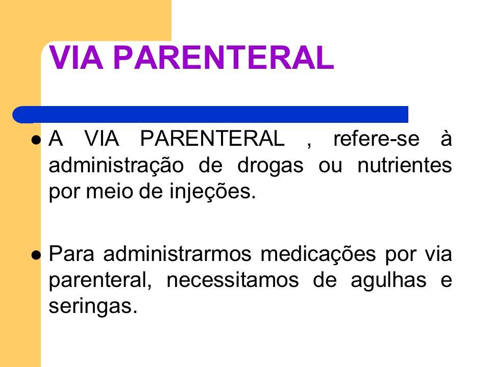 VIA PARENTERAL A VIA PARENTERAL , refere-se à administração de drogas ou nutrientes por meio de injeções.