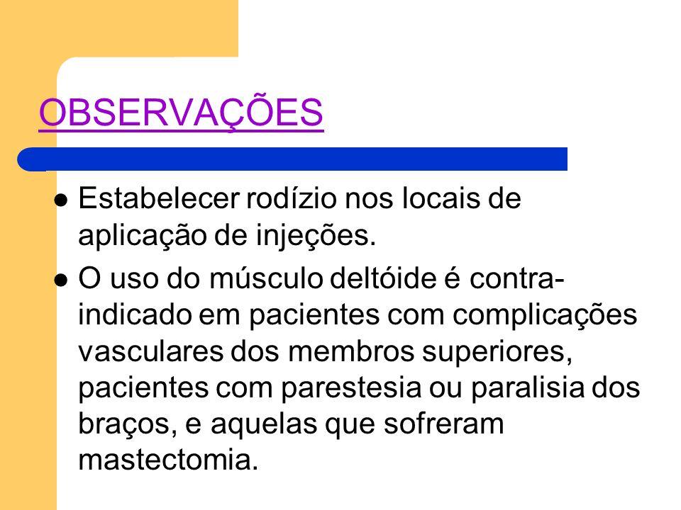OBSERVAÇÕES Estabelecer rodízio nos locais de aplicação de injeções.