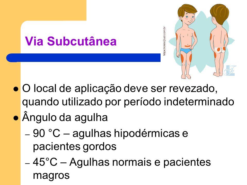 Via Subcutânea O local de aplicação deve ser revezado, quando utilizado por período indeterminado. Ângulo da agulha.