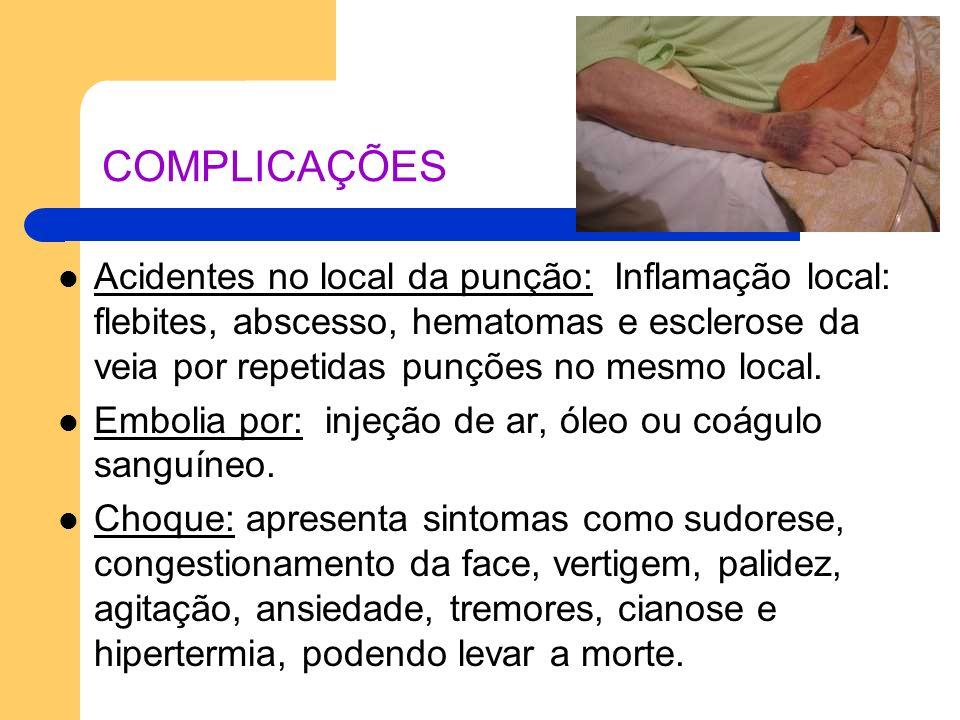 COMPLICAÇÕES Acidentes no local da punção: Inflamação local: flebites, abscesso, hematomas e esclerose da veia por repetidas punções no mesmo local.