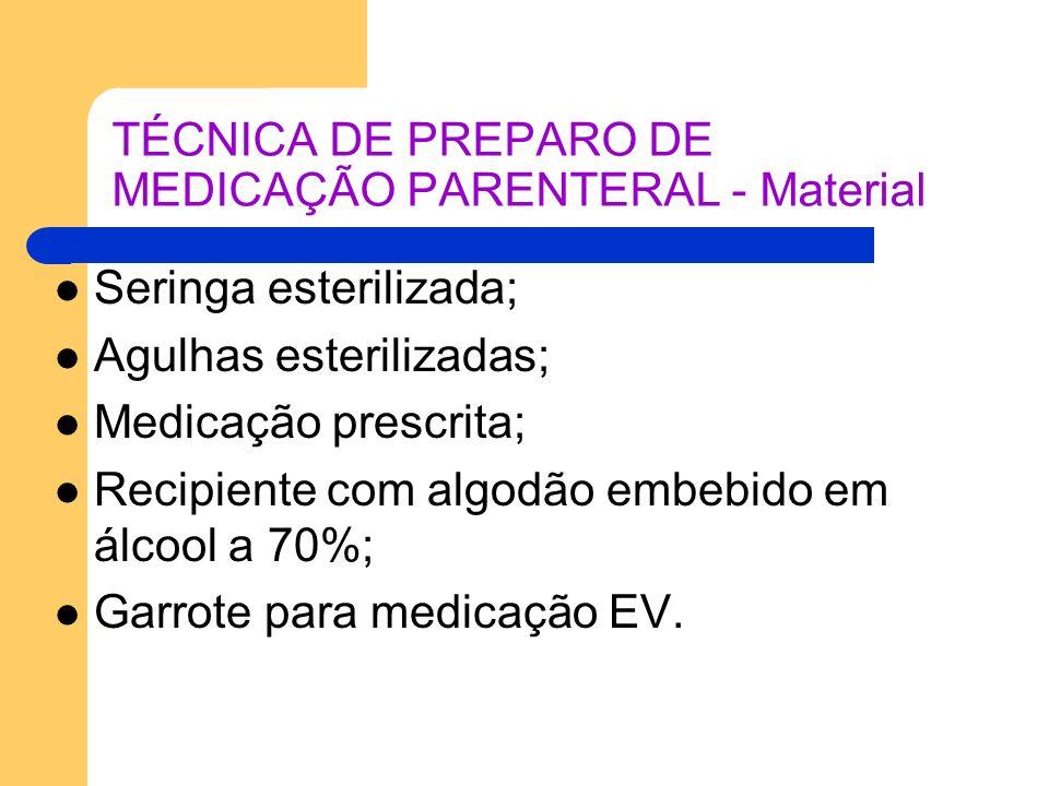 TÉCNICA DE PREPARO DE MEDICAÇÃO PARENTERAL - Material