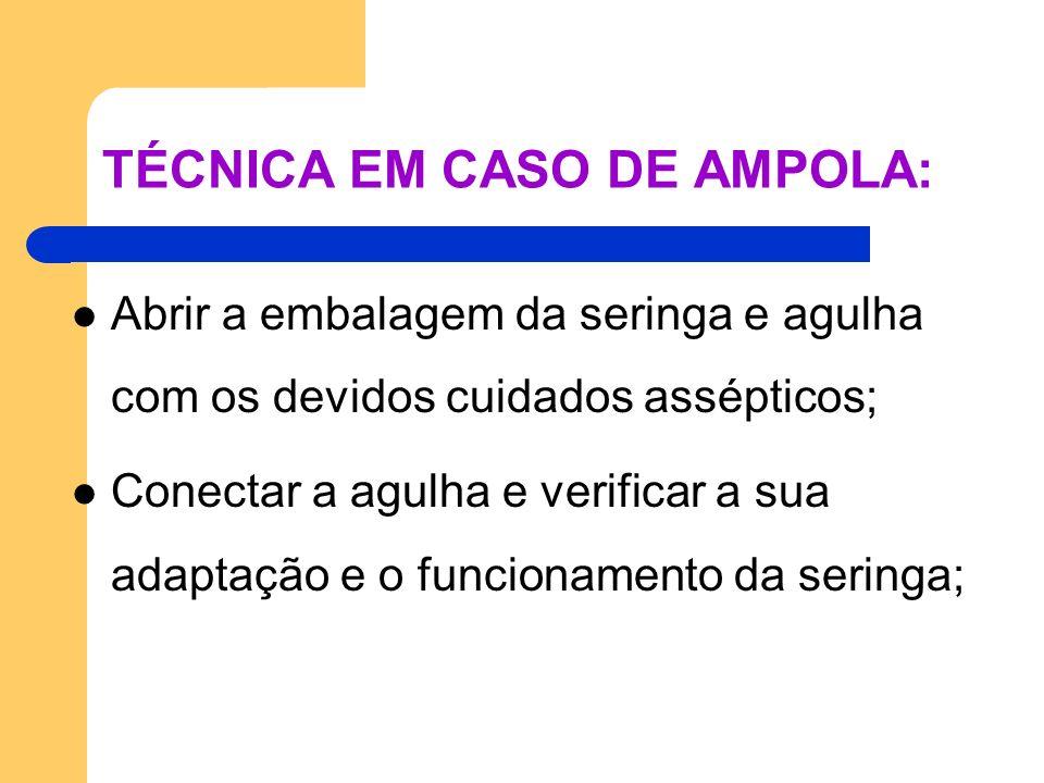 TÉCNICA EM CASO DE AMPOLA: