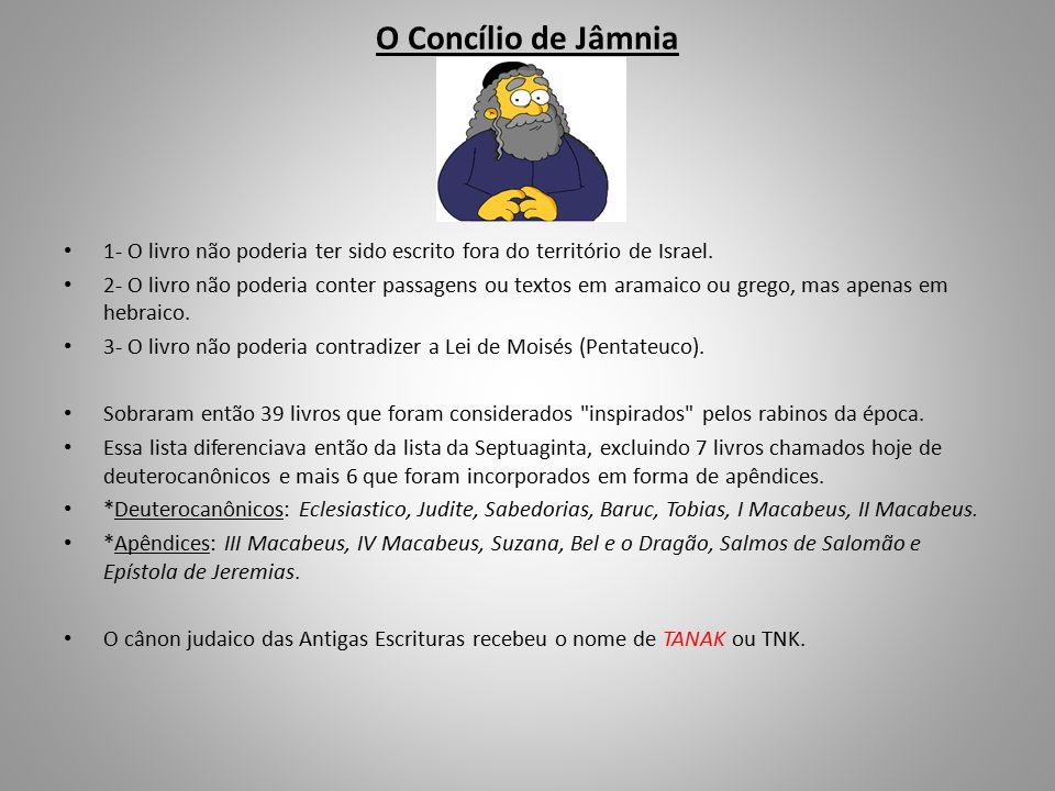 O Concílio de Jâmnia 1- O livro não poderia ter sido escrito fora do território de Israel.