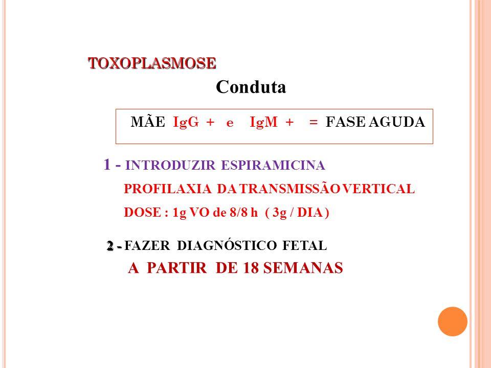 Conduta 1 - INTRODUZIR ESPIRAMICINA PROFILAXIA DA TRANSMISSÃO VERTICAL