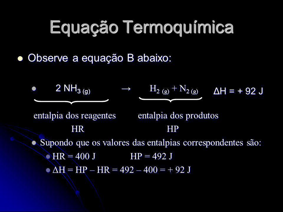 Equação Termoquímica Observe a equação B abaixo: