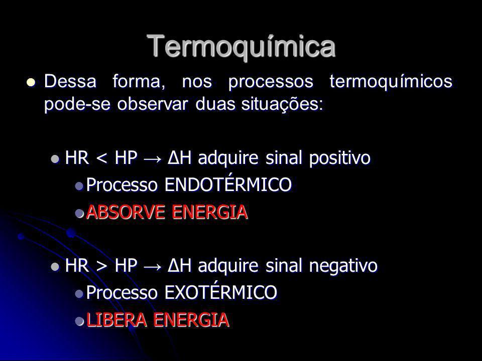 Termoquímica Dessa forma, nos processos termoquímicos pode-se observar duas situações: HR < HP → ΔH adquire sinal positivo.