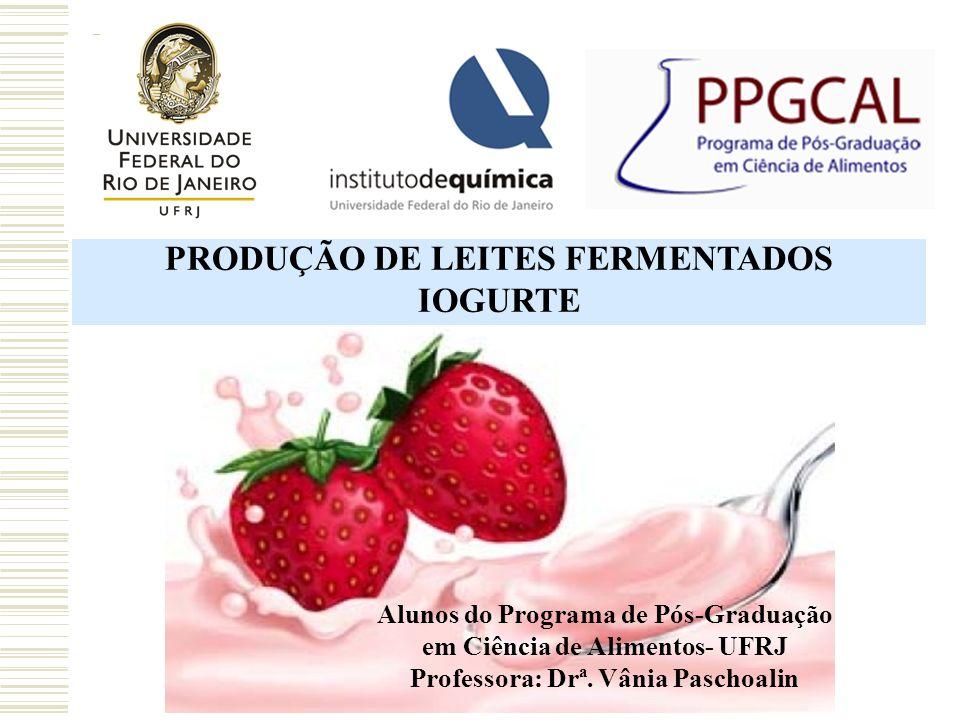 PRODUÇÃO DE LEITES FERMENTADOS Professora: Drª. Vânia Paschoalin