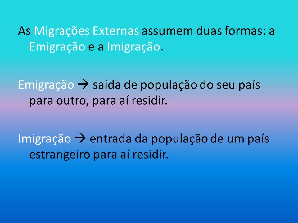 As Migrações Externas assumem duas formas: a Emigração e a Imigração