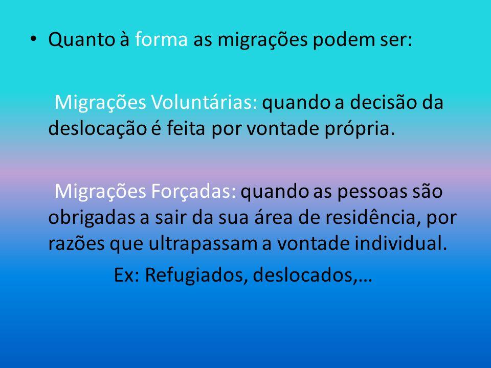 Quanto à forma as migrações podem ser: