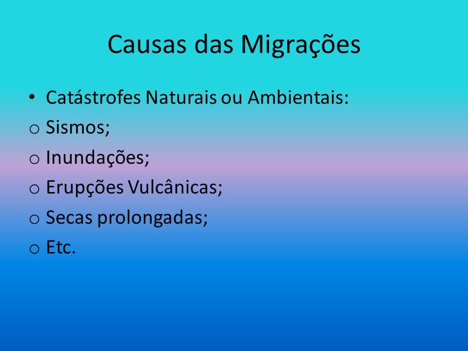 Causas das Migrações Catástrofes Naturais ou Ambientais: Sismos;