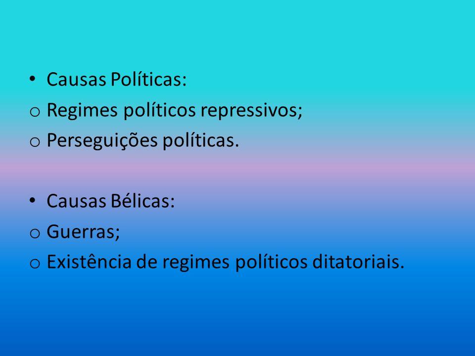 Causas Políticas: Regimes políticos repressivos; Perseguições políticas. Causas Bélicas: Guerras;