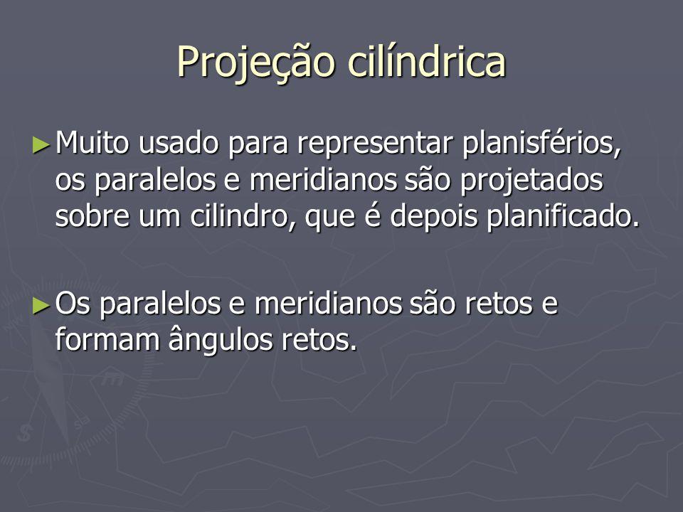 Projeção cilíndrica Muito usado para representar planisférios, os paralelos e meridianos são projetados sobre um cilindro, que é depois planificado.
