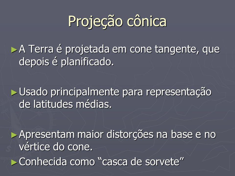 Projeção cônica A Terra é projetada em cone tangente, que depois é planificado. Usado principalmente para representação de latitudes médias.