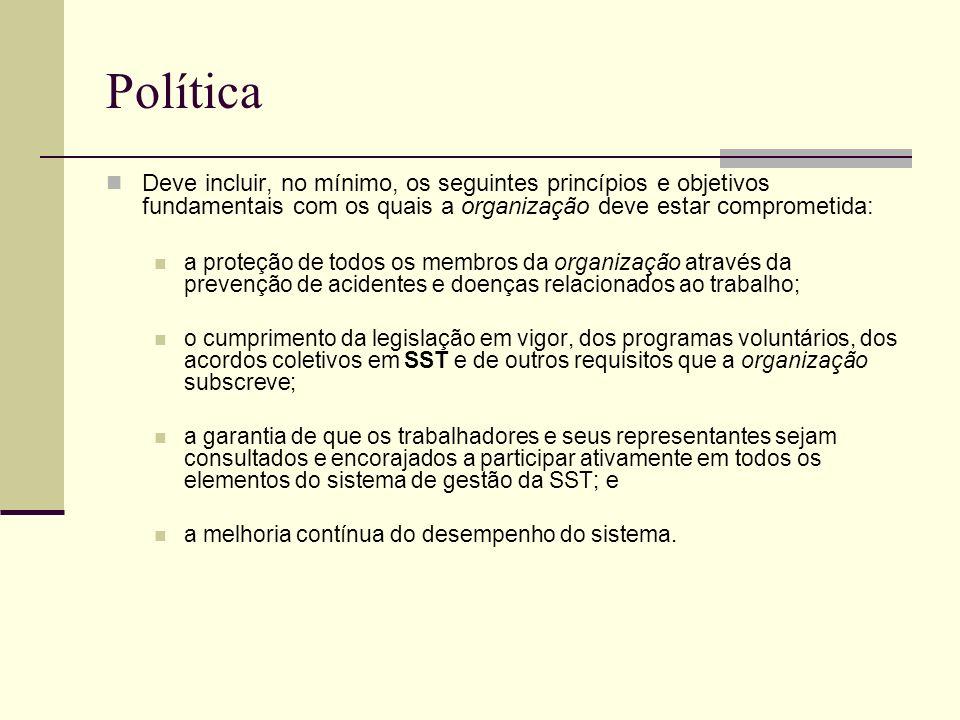 Política Deve incluir, no mínimo, os seguintes princípios e objetivos fundamentais com os quais a organização deve estar comprometida: