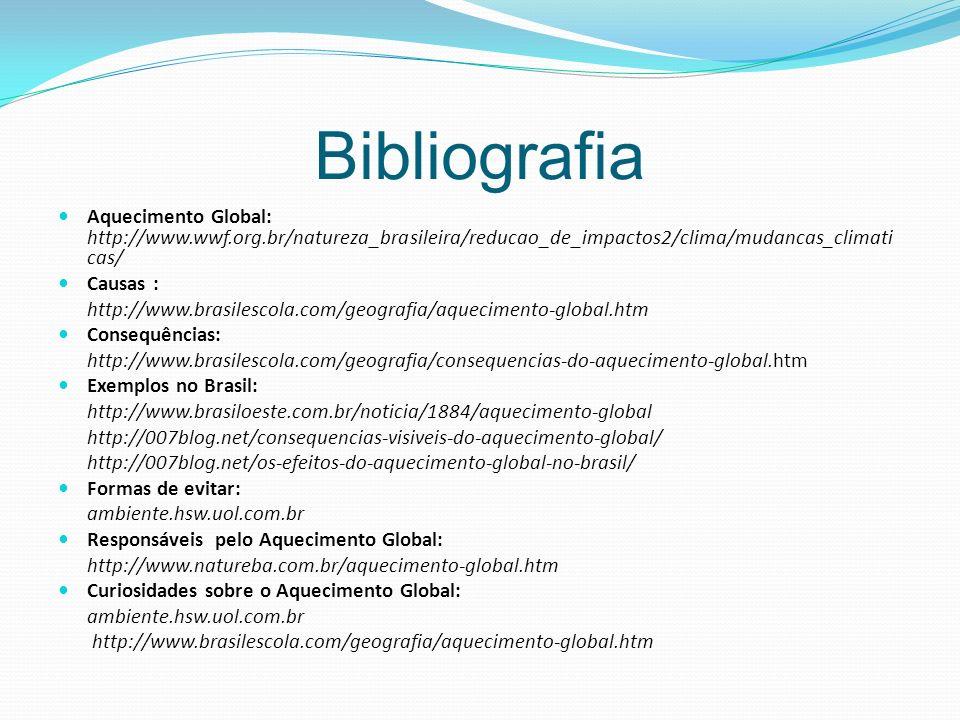 Bibliografia Aquecimento Global: http://www.wwf.org.br/natureza_brasileira/reducao_de_impactos2/clima/mudancas_climaticas/