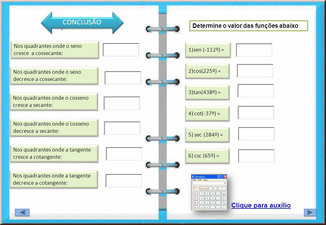CONCLUSÃO CO Clique para auxílio Determine o valor das funções abaixo