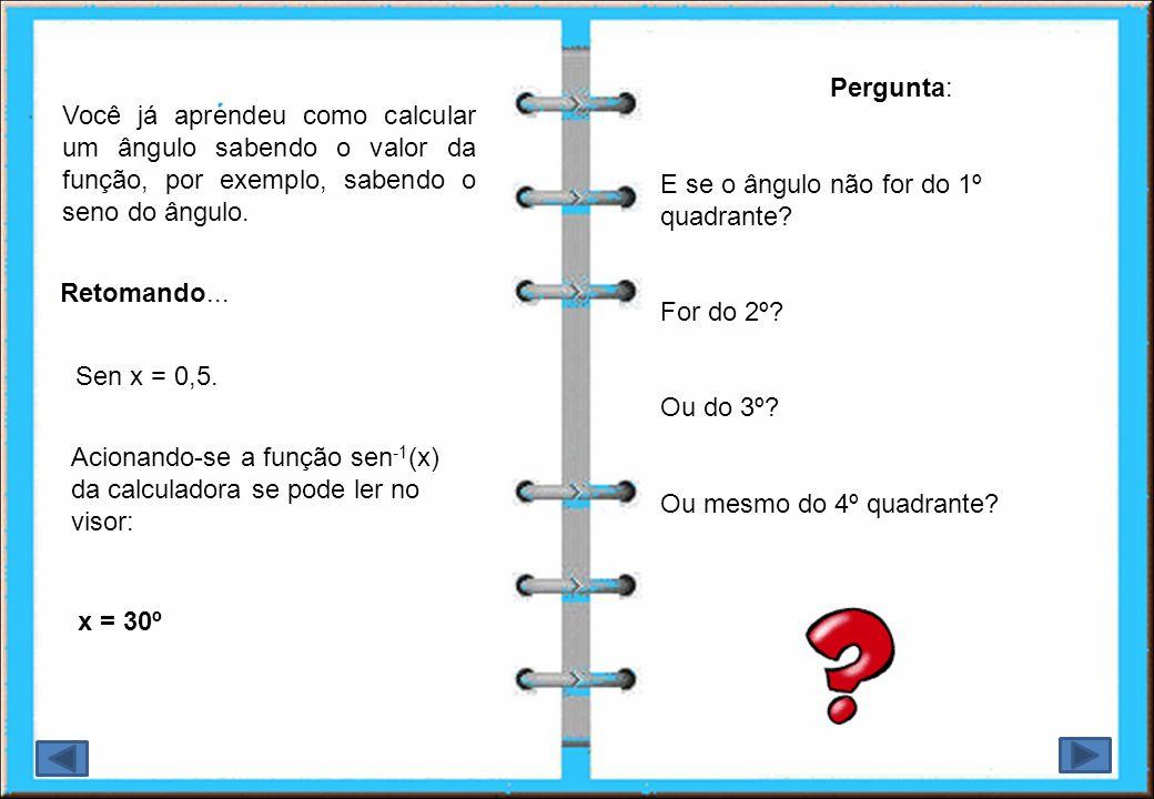 Pergunta: E se o ângulo não for do 1º quadrante For do 2º Ou do 3º Ou mesmo do 4º quadrante