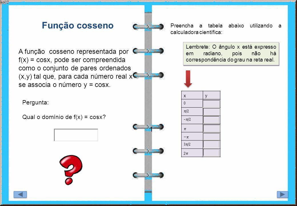 Função cosseno Preencha a tabela abaixo utilizando a calculadora científica: