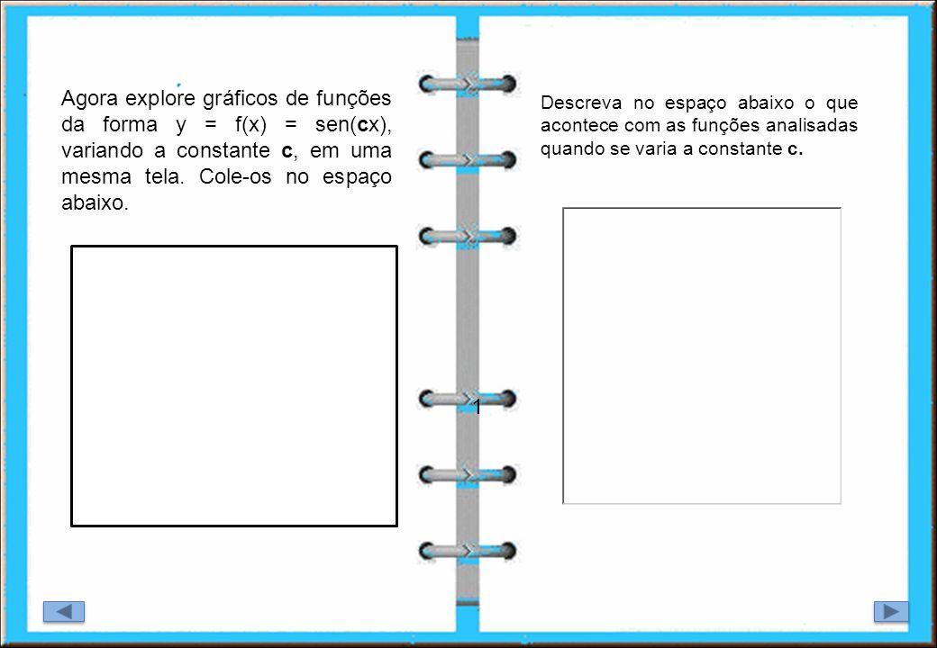 Agora explore gráficos de funções da forma y = f(x) = sen(cx), variando a constante c, em uma mesma tela. Cole-os no espaço abaixo.