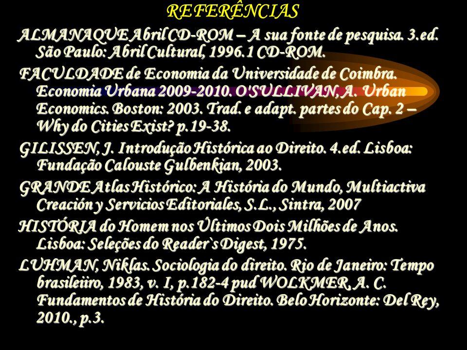 REFERÊNCIAS ALMANAQUE Abril CD-ROM – A sua fonte de pesquisa. 3.ed. São Paulo: Abril Cultural, 1996.1 CD-ROM.
