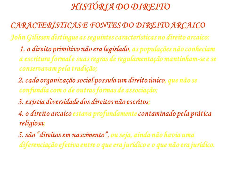 HISTÓRIA DO DIREITO CARACTERÍSTICAS E FONTES DO DIREITO ARCAICO