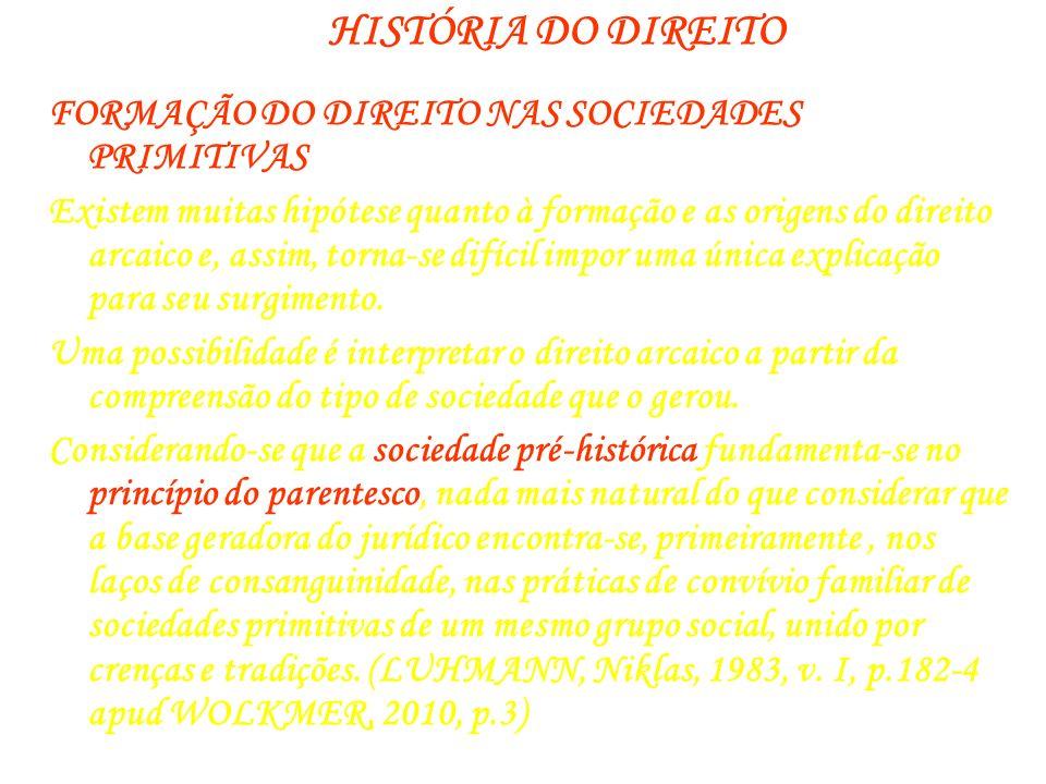 HISTÓRIA DO DIREITO FORMAÇÃO DO DIREITO NAS SOCIEDADES PRIMITIVAS