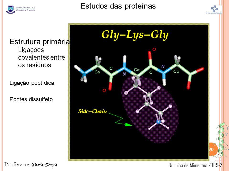 Estrutura primária Ligações covalentes entre os resíduos