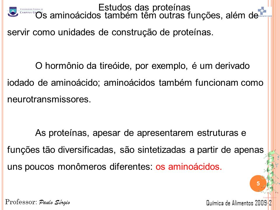 Os aminoácidos também têm outras funções, além de servir como unidades de construção de proteínas.
