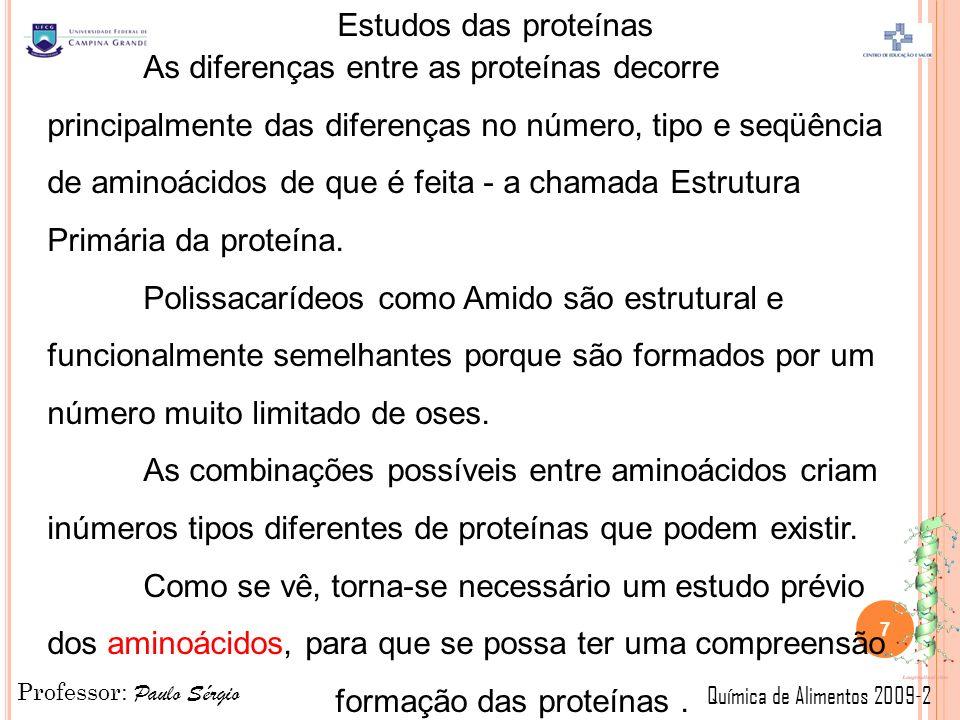 As diferenças entre as proteínas decorre principalmente das diferenças no número, tipo e seqüência de aminoácidos de que é feita - a chamada Estrutura Primária da proteína.