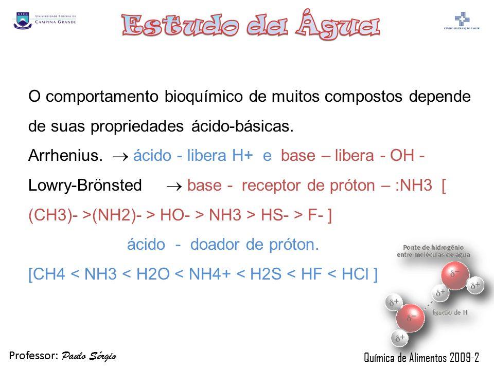 O comportamento bioquímico de muitos compostos depende de suas propriedades ácido-básicas.