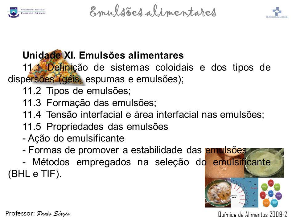 Unidade XI. Emulsões alimentares